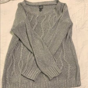 Shimmery gray cotton sweater